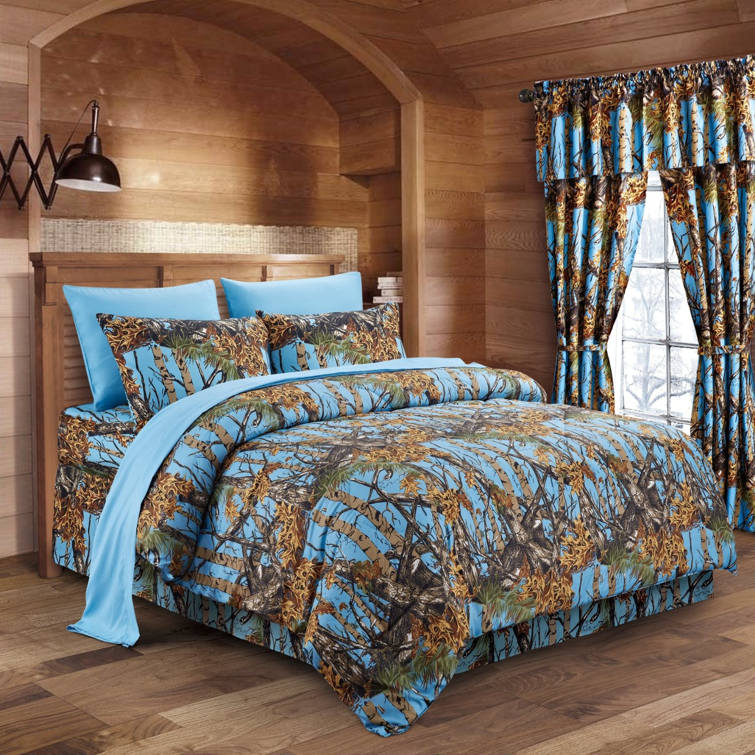 The Woods Powder Blue Camouflage Queen 8pc Premium Luxury Comforter, Sheet, Pillowcases, and Bed Skirt Set by Regal Comfort Camo Bedding Set For Hunters Cabin or Rustic Lodge Teens Boys and Girls