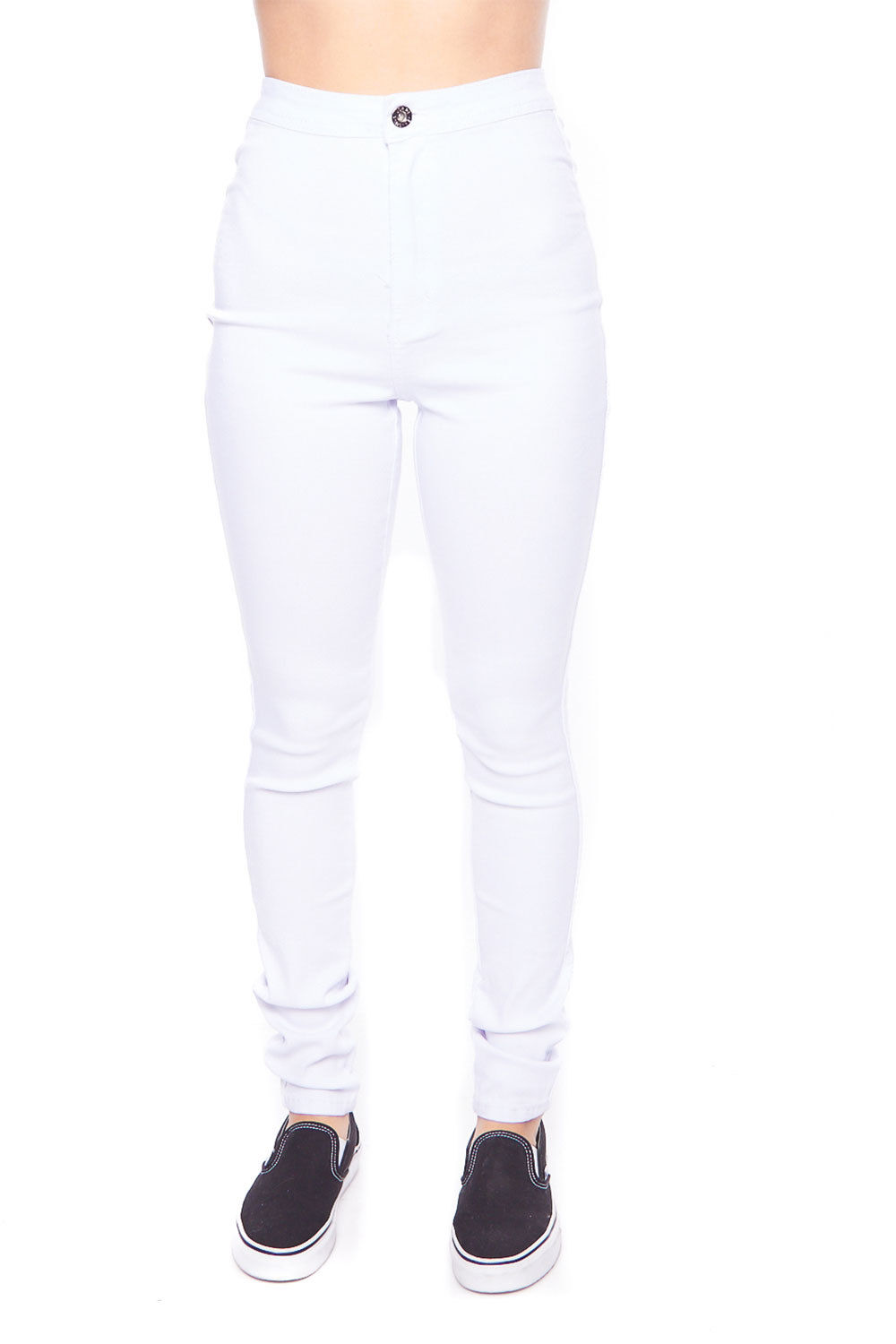 Womens French Terry Basic Jegging High Waist Skinny Pants GP2100-S-White