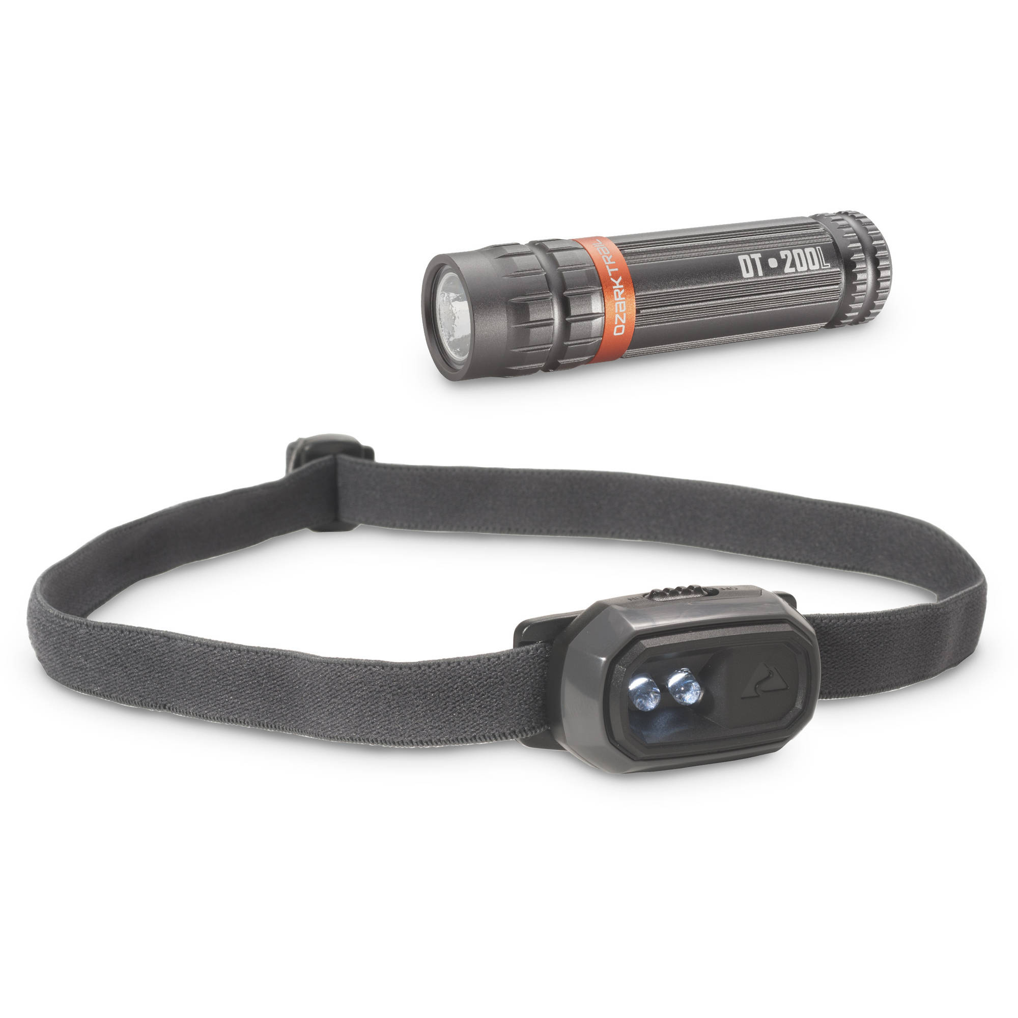 Ozark Trail 20L Mini Headlamp and 200L Flashlight Combo Pack