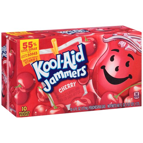 Kool-Aid Jammers Cherry Flavored Drink, 6 fl oz, 10 count