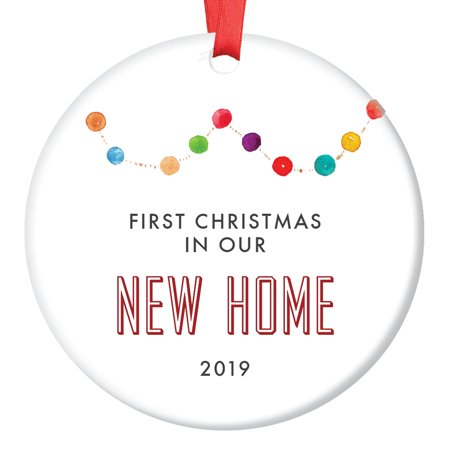 "New Home Ornament 2019, Gift for New Homeowners Ceramic Xmas Ornament Present for Housewarming Party First House Colorful Garland Christmas Keepsake 3"" Flat Porcelain with Red Ribbon & Free Gift Box"