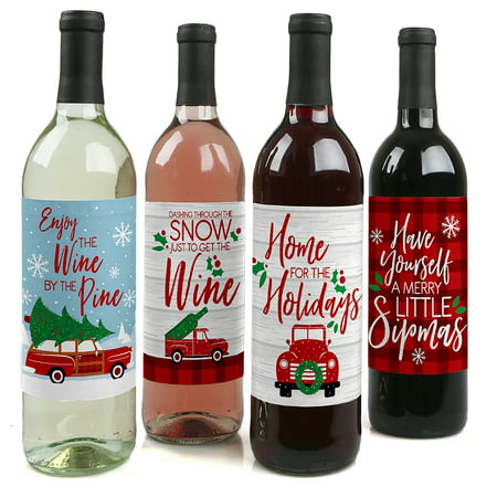Merry Little Christmas Tree - Red Truck and Car Christmas Party Decorations for Women and Men - Wine Bottle Label ()
