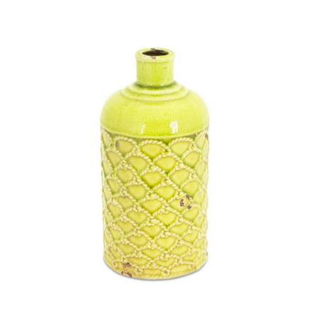 "9.5"" Bright Kiwi Green Distressed Flower Jug Vase with Roping Pattern"