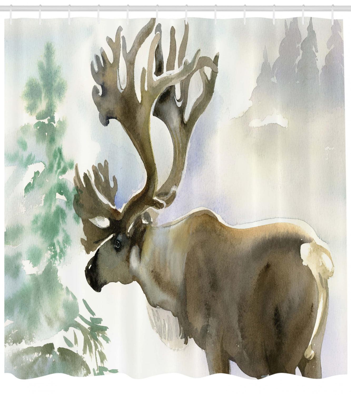 Moose Shower Curtain Blue Winter Antlers Tree Print for Bathroom