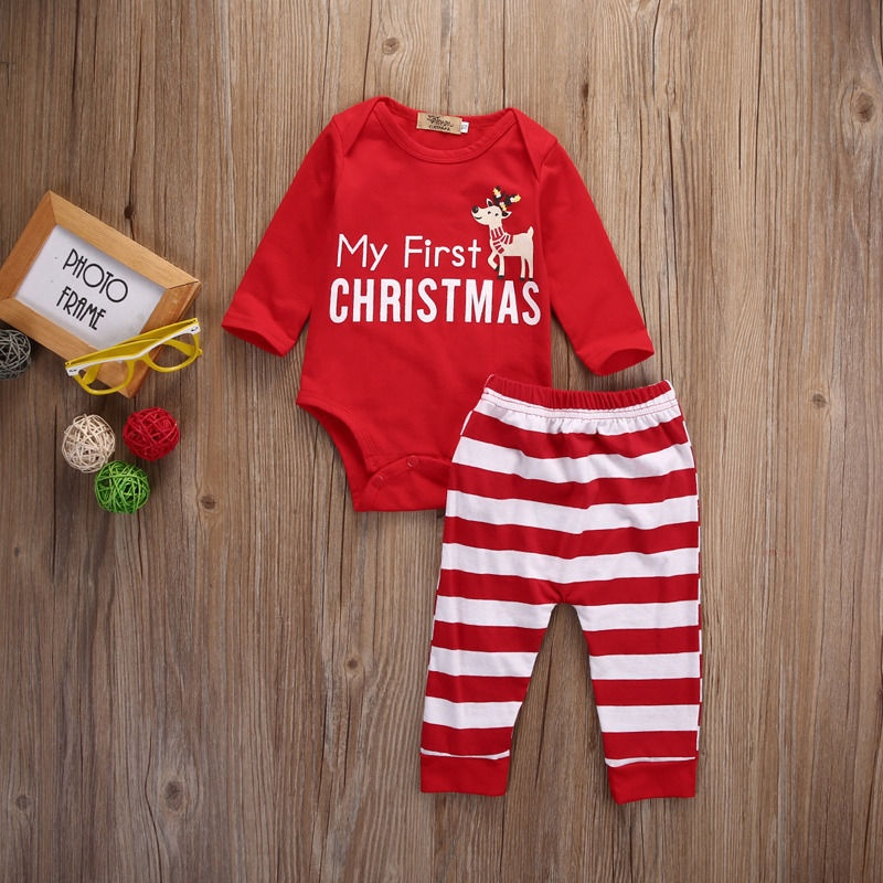 Newborn Baby Girls MY First Christmas Romper Bodysuit +Stripe Pants 2Pcs Outfits
