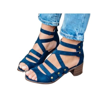 8334afe1cc8a Women Summer Casual Gladiator Strappy Sandals Criss Cross Low Heels Rivet  Shoes