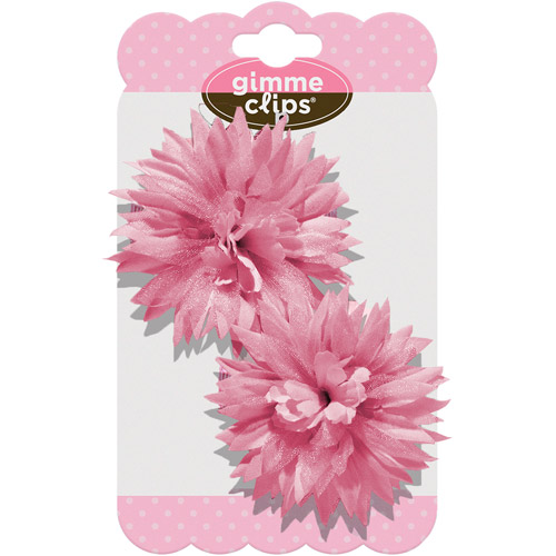 Gimme Clips Pom Hair Clips, Pink, 2 count