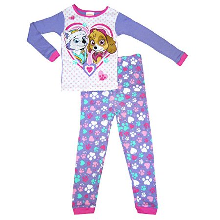 Paw Patrol Little Girls Toddler Skye and Everest Cotton Pajama Set