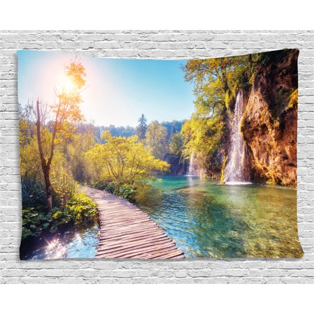 Nature Tapestry, Idyllic Lake with Waterfall Flowing down the Hills in National Park Autumn Scenery, Wall Hanging for Bedroom Living Room Dorm Decor, 60W X 40L Inches, Multicolor, by Ambesonne ()