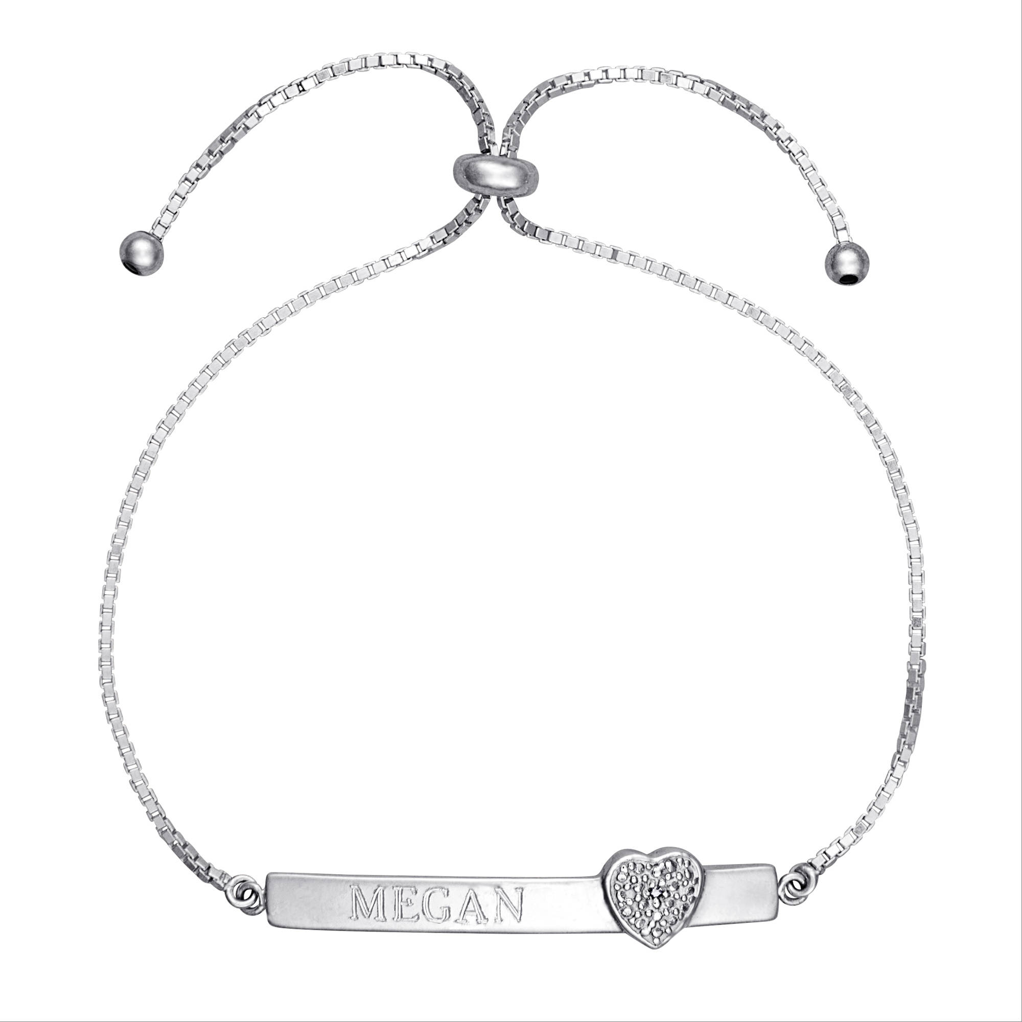 Personalized Diamond Accent Sterling Silver Engraved Bar Adjustable Heart Bracelet