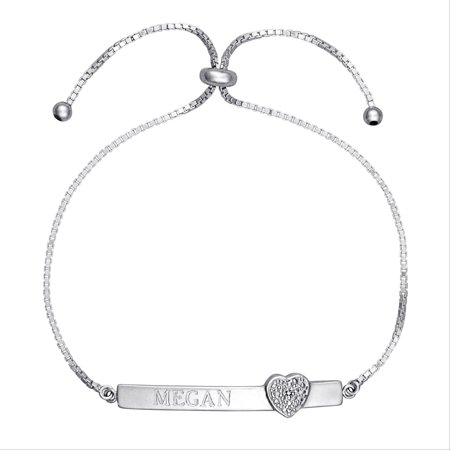 bac72438a Personalized Planet Jewelry - Personalized Diamond Accent Sterling Silver  Engraved Bar Adjustable Heart Bracelet - Walmart.com