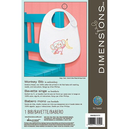 Dimensions Crafts Embroidered Bibs, Monkey](Monkey Crafts)