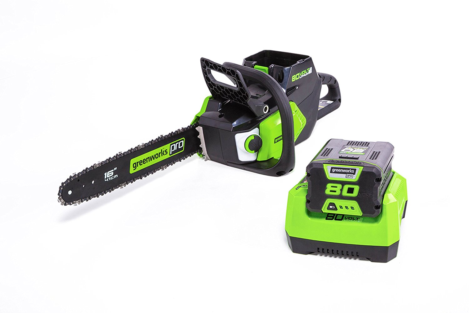"Greenworks CS80L211 Pro 80V 16"" Brushless Chainsaw with 2Ah Battery and Charger by Sunrise Global Marketing, LLC"