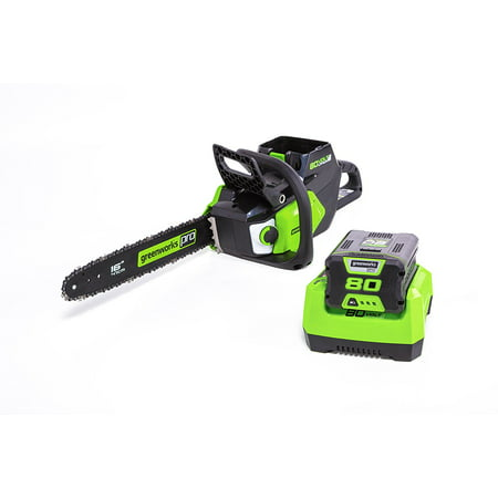 Greenworks CS80L211 Pro 80V 16u0022 Brushless Chainsaw with 2Ah Battery and Charger