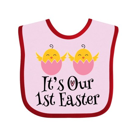 Twin Girls 1st Easter Holiday Chick Baby Bib