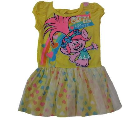 Toddler Girls Yellow Cute Happens Trolls Princess Poppy Tutu Dress Outfit](Princess Poppy)