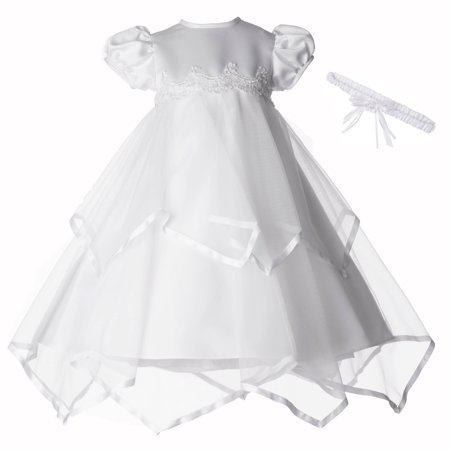 Christening Baptism Newborn Baby Girl Special Occasion Sheer Over Taffeta Two Tier Handkerchief Skirt Dress Gown Outfit With Satin Ribbon Trim