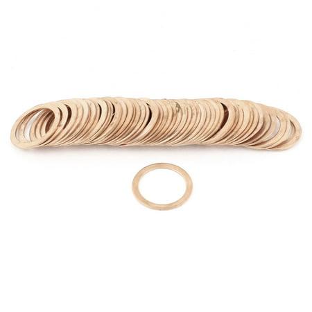 50Pcs 20mmx26mmx1mm Flat Copper Crush Washer Sealing Ring Gasket - image 1 of 1