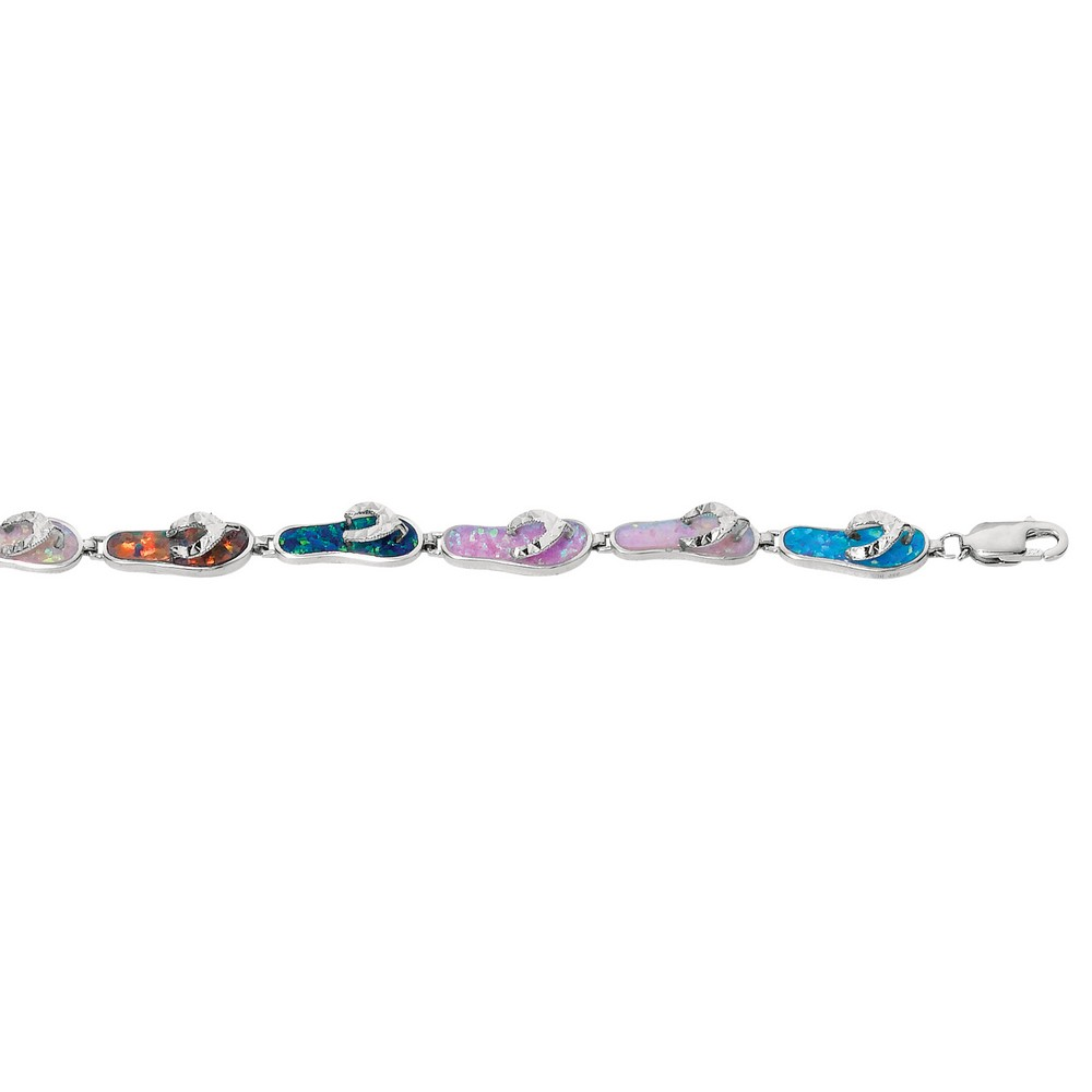 Sterling Silver Rhodium Plated Multi-cr Created Opal Flip-flo Bracelet Length: 08 to 0750 by