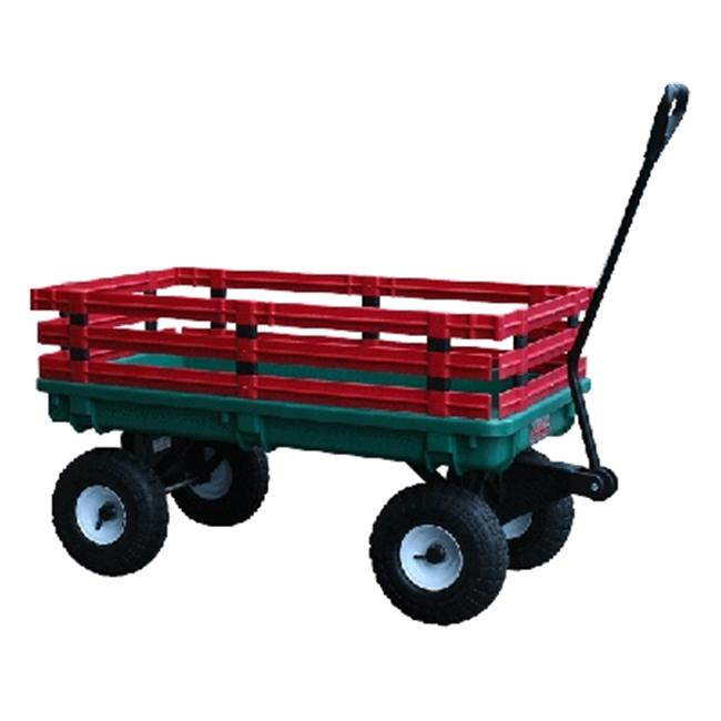 Millside Industries 04220 20 inch x 38 inch Plastic Deck Wagon with 4 inch x 10 inch Tires - Green