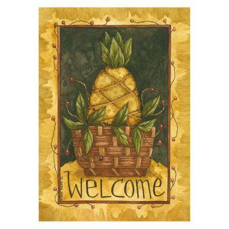 Pineapple Welcome House - Toland Home Garden Pineapple Basket Flag