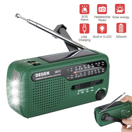 EEEkit Radio Solar Hand Crank Emergency Radio 4 Ways Powered FM/SW/MW Portable Radio with Flashlight, Reading Lamp, Cellphone Charger and SOS Alarm