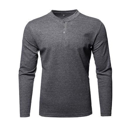 Flag Thermal Shirt - FashionOutfit Men's Thermal Henley Crew Neck Long Sleeve T-Shirt
