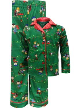 Peanuts Girls' Peanuts Charlie Brown Christmas Traditional Girls Pajama (7/8)