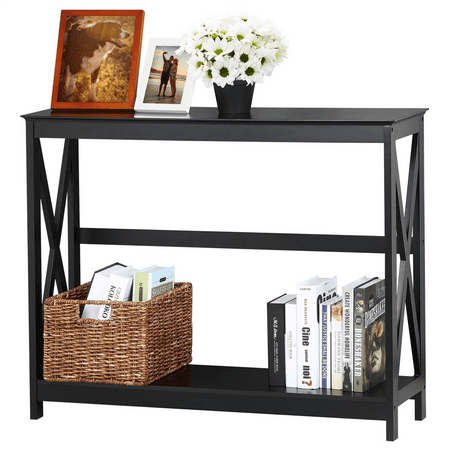 Console Table Modern X Design Accent Side Stand Sofa Entryway Hall Display Storage Shelf Black ()