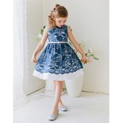 Efavormart Fabulous Floral Lace and Taffeta Dress with Gem Embellished Belt Birthday Girl Dress Junior Flower Girl Wedding Dress