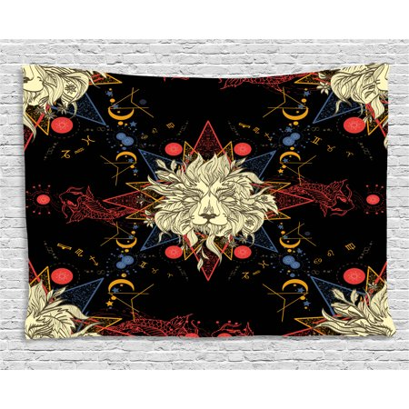 Medieval Lion Symbol (Astrology Tapestry, Medieval Mystic Lion Astrological Symbols of Zodiac Antique Style, Wall Hanging for Bedroom Living Room Dorm Decor, 60W X 40L Inches, Red Blue Gold and Black, by)