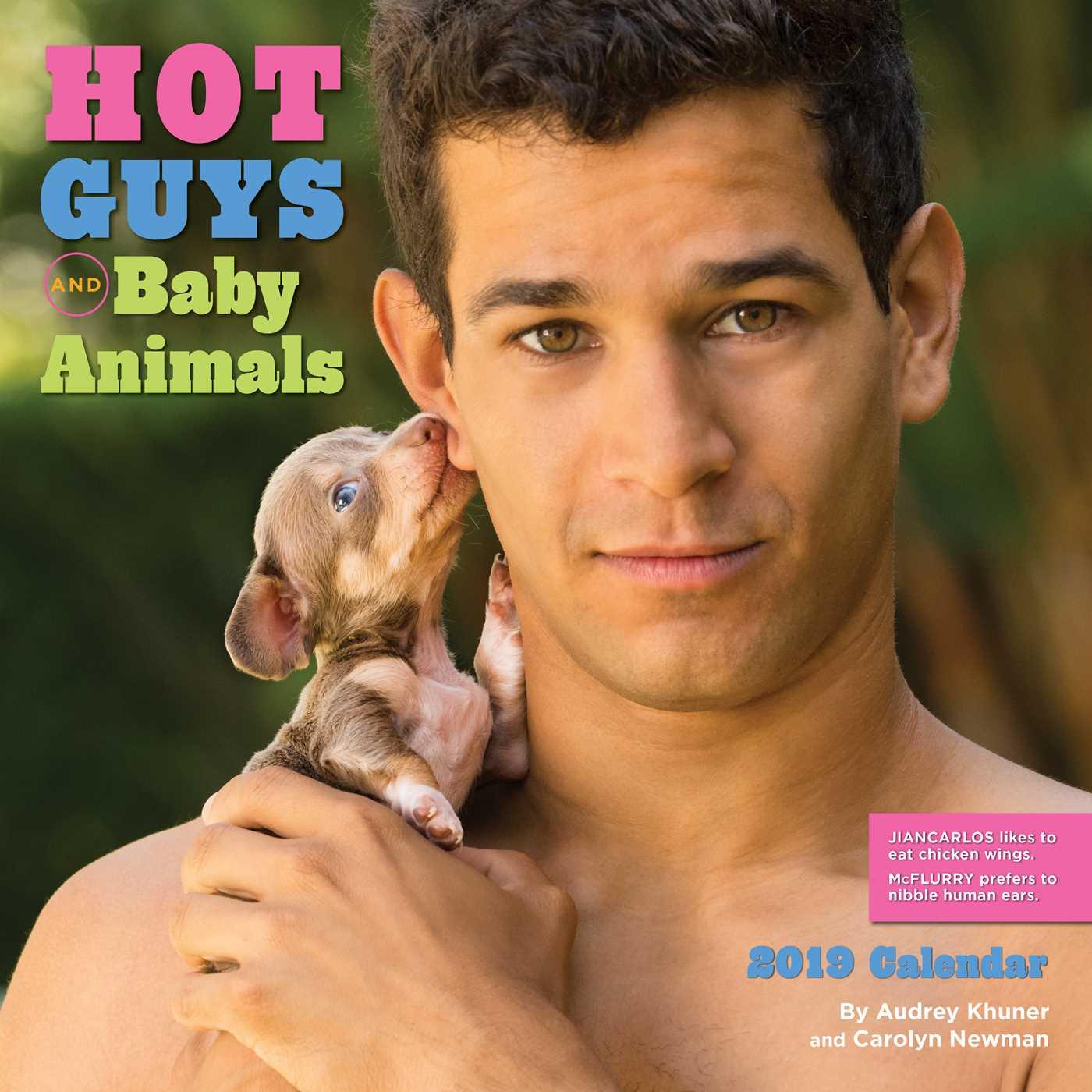 Hot Guys and Baby Animals 2019 Wall Calendar