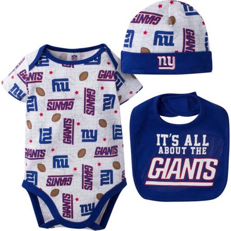 544fa572 NFL New York Giants Baby Boys Bodysuit, Bib and Cap Outfit Set, 3-Piece