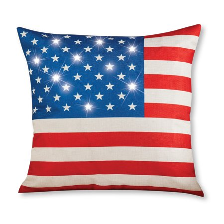 Lighted American Flag Pillow Cover - Festive Fourth of July or Memorial Decorative Accent for Chair, Couch or Sofa (Decorating For Memorial Day)