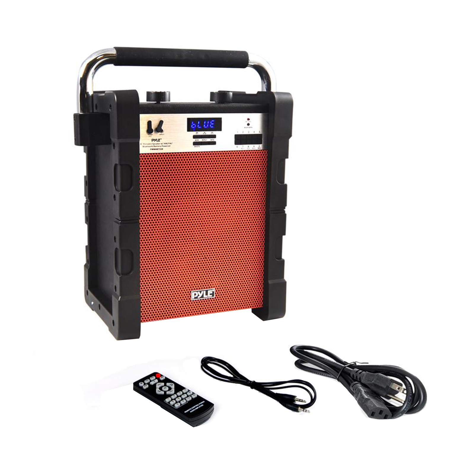 BT Rugged & Portable Speaker System, Work / Job Site Stereo, Built-in Battery, MP3/USB/SD, AM/FM Radio (Orange)