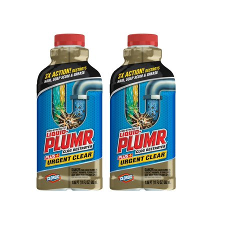 (2 Pack) Liquid-Plumr Pro-Strength Clog Remover, Urgent Clear, 17