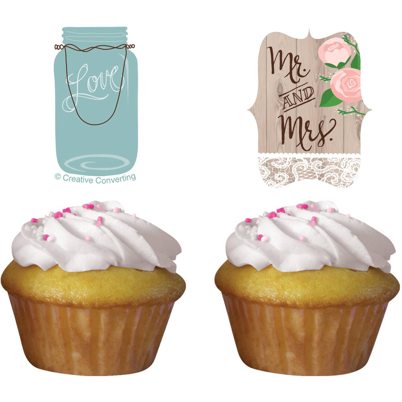 Rustic Wedding Cupcake Toppers, 12-Pack