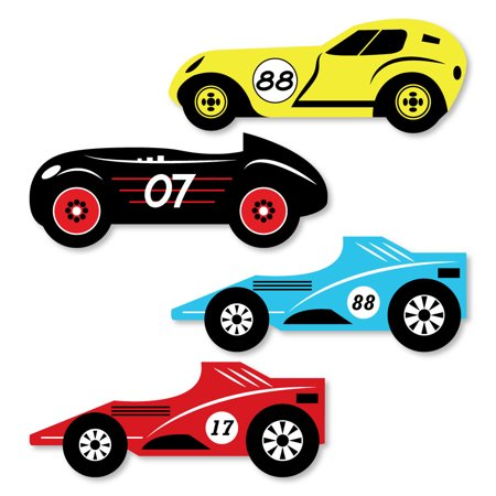 Let's Go Racing - Racecar - Shaped Race Car Birthday Party or Baby Shower Cut-Outs - 24 Count (Race Car Birthday Party Ideas)