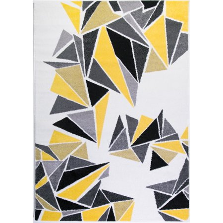 Ladole Rugs Soft Boston Collection Triangles Geometric Pattern Stylish Area Rug Carpet In Cream Yellow Black 8x11 7 10 X 5 240cm 320cm