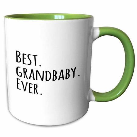 3dRose Best Grandbaby Ever - Cute Gifts for Grandchildren - Grandkids - black text - Two Tone Green Mug, 11-ounce (Halloween Gift Ideas For Grandchildren)