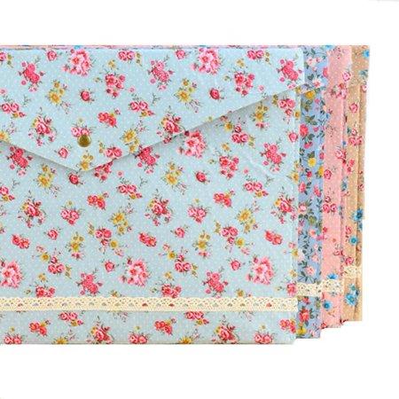 Floral A4 File Folder Document Bag Pouch Brief Case Office Book Holder Organizer