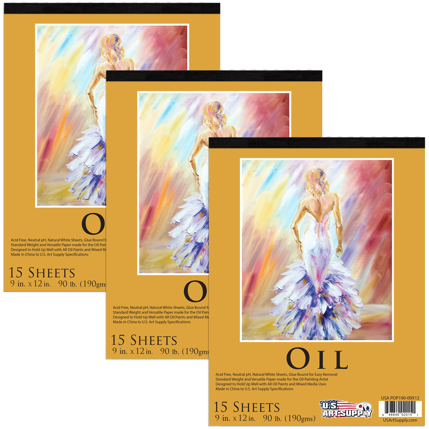 "3 Pack of 9"" x 12"" Premium Heavy-Weight Oil Painting Paper Pad 90lbs 15-Sheets"