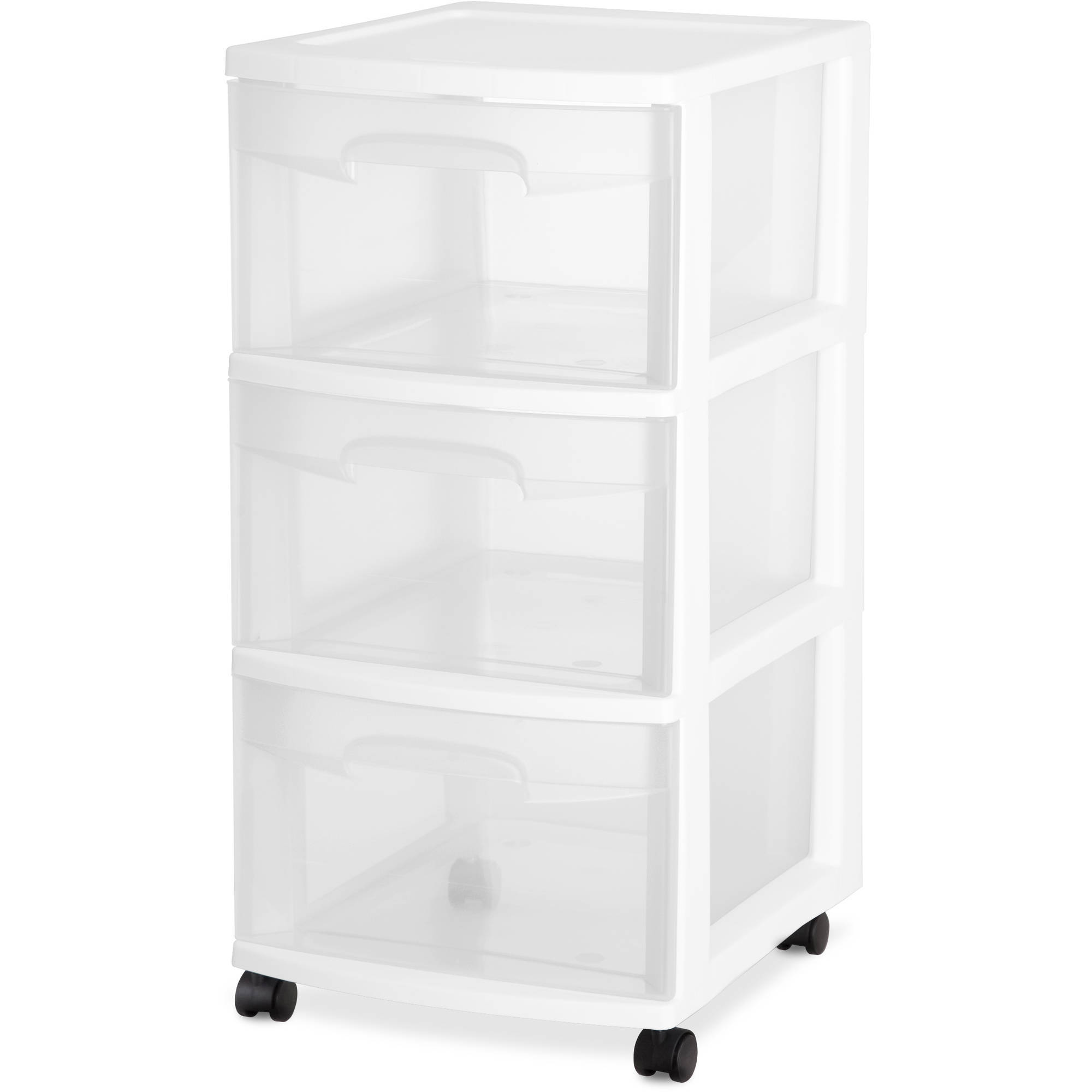 Bella 3 Drawer Medium Locking Cart with Clear Drawers and Teal ...