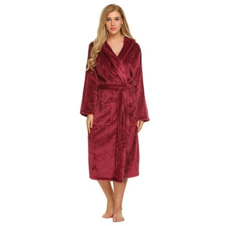 Soft Plush Bathrobe with Belt Women Sleepwear Long Robe Hooded Long Sleeve  DEAML - Walmart.com 3db08bc08