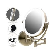 Ovente Wall Mounted Makeup Mirror 9.5 Inch with 10X Magnification and LED Ring Lights, Energy Saving with Auto Shutoff Timer, Double-Sided with 360 Degree Swivel Design, Nickel Brushed (MLW45BR1X10X)