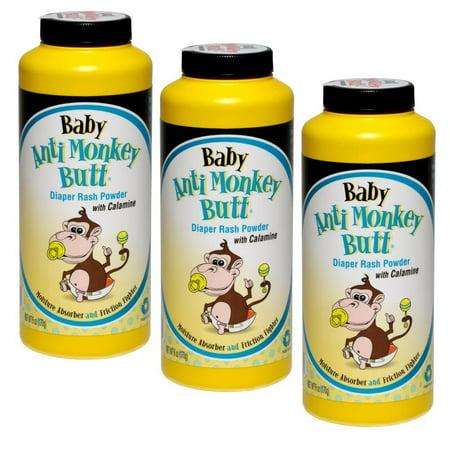3 Pack Baby Anti Monkey Butt Diaper Rash Powder w Calamine 6oz