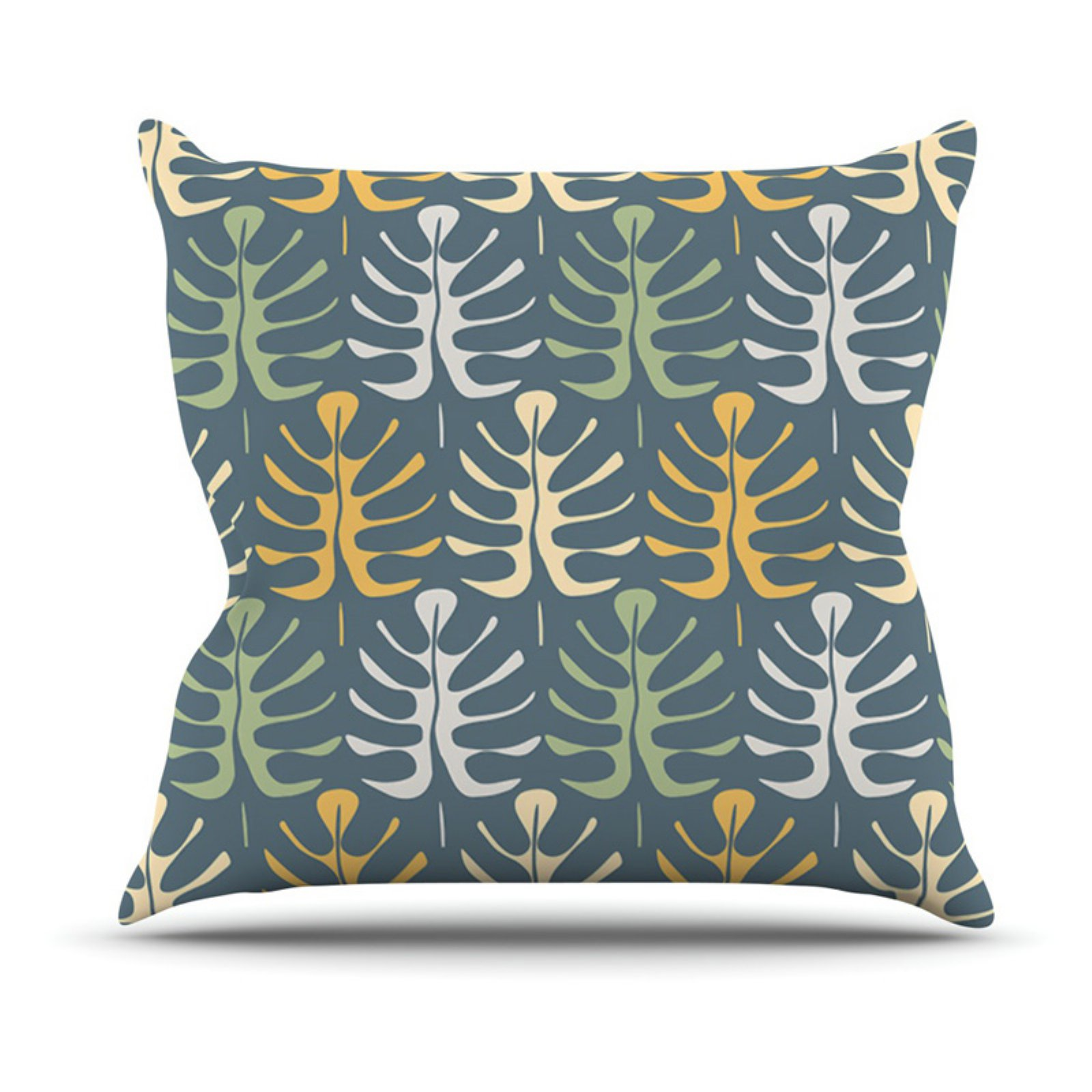 Kess InHouse Julia Grifol My Leaves on Blue Outdoor Throw Pillow