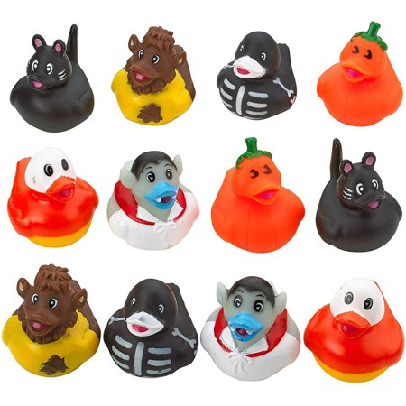 Halloween Rubber Ducky - Set of 12 Assorted Duckies for Kids Party Favors, Gifts on Birthdays, Trick or Treat, Baby Showers, Bath Companion for Summer Beach and Pool Activity, Sensory Toy](Cute Halloween Treats For Babies)