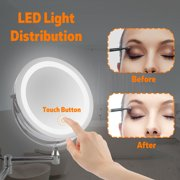 Kadell 10X/3X Magnifying 7''/6'' 2 Side Touch LED Lighted Wall Mount Mirror Cosmetic Makeup Mirror with 360° Adjustable Brightness Silver