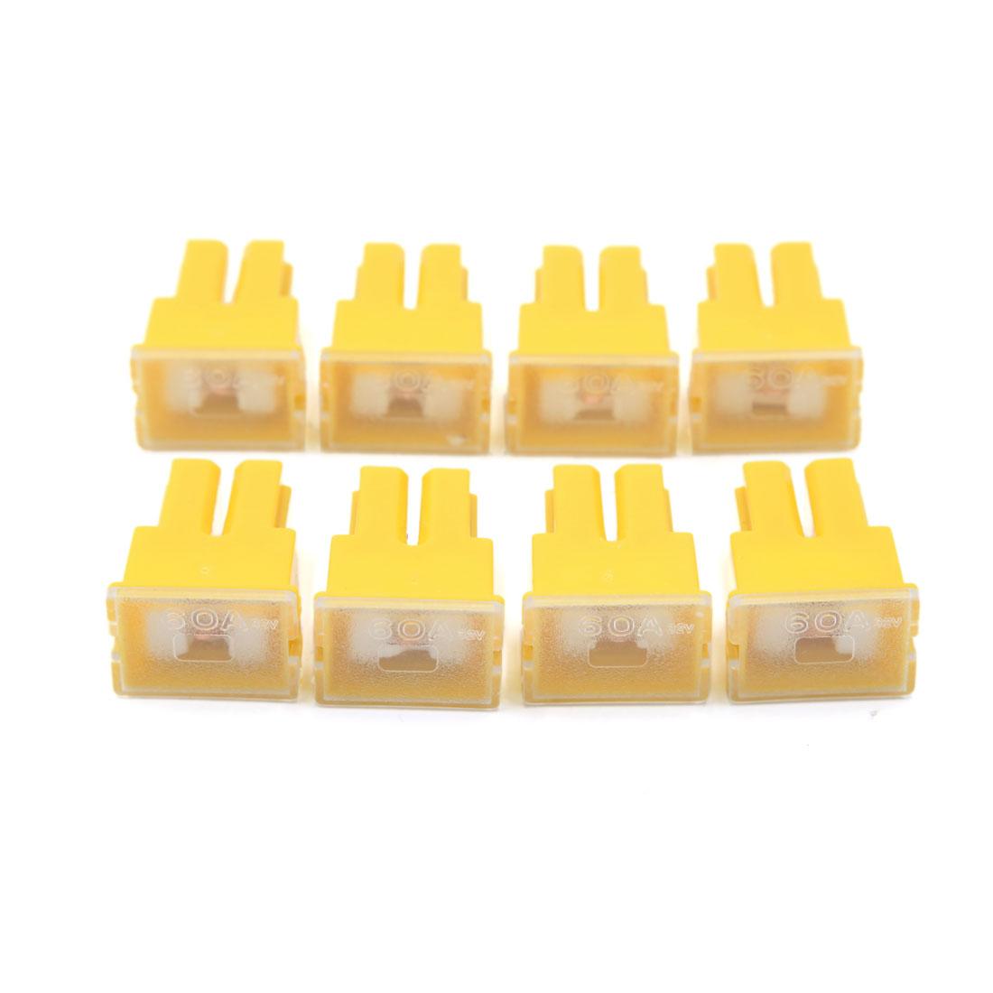8Pcs Yellow Plastic Auto Car Push-in Type Female PAL Cartridge Fuse DC 32V 60A
